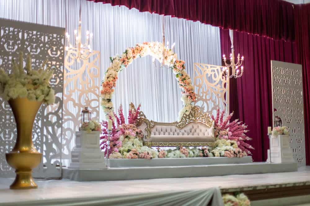Stage at front of wedding venue for wedding ceremony photograph photography