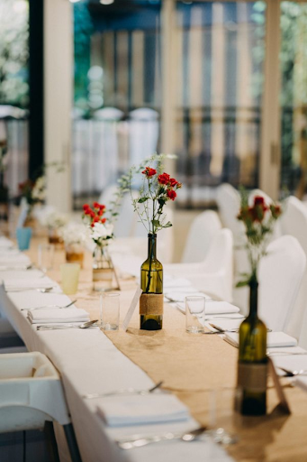 Table photo at a wedding venue of wedding photography photoshoot