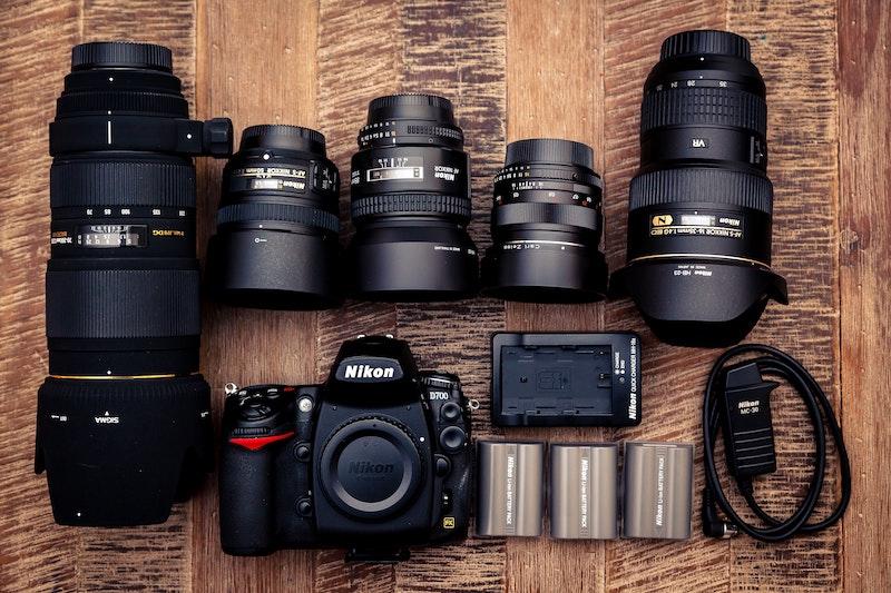 Flatlay of camera equipment