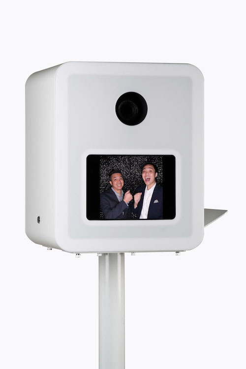 Close-up front view of Aura photo booth