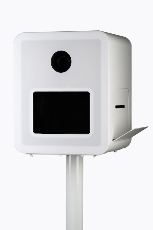 Close-up view of printer catch of Aura photo booth