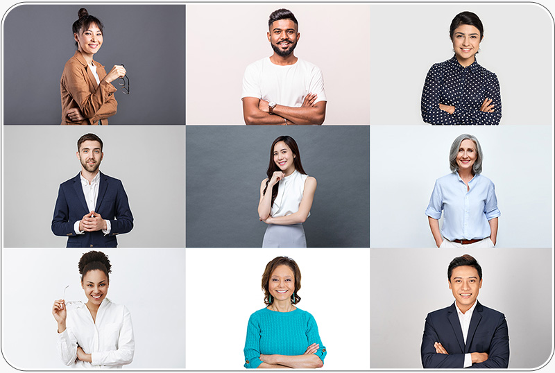 Live gallery showing the corporate portraits taken with the instant headshot station