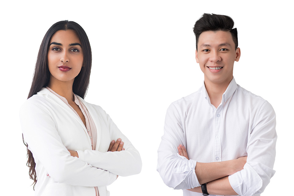 Man and woman posing for corporate headshot at instant headshot station