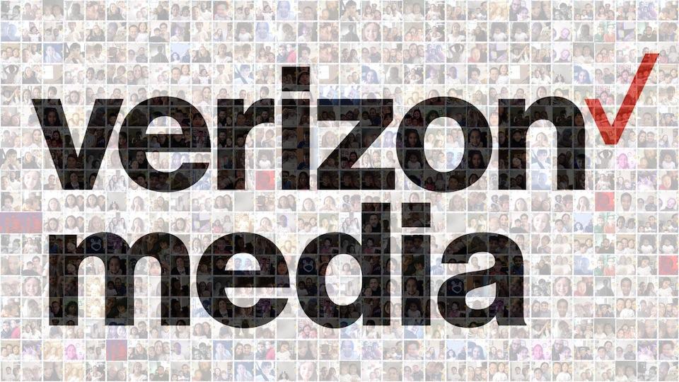 Digital mosaic for Verizon Media, created with photos taken at virtual photo booth